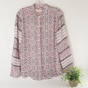 LOFT M Small Floral Long Sleeve Top 3434